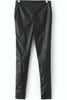Black Slim Zipper Leather Pant