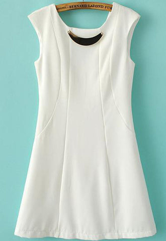 White Sleeveless Backless Slim Bodycon Dress
