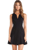 Black V Neck Sleeveless Ruffle Slim Dress