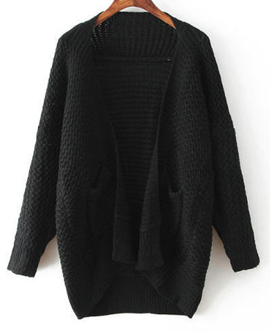 Black Draped Front Double Pockets Batwing Cardigan