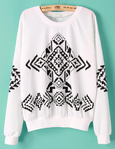 White and Black Tribal Print Sweatshirt