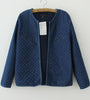 Dark Blue Qulited Collarless Denim Jacket