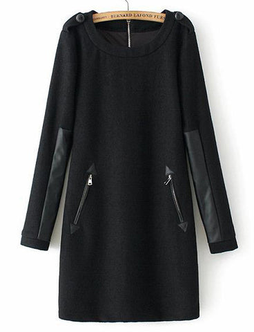 Black Long Sleeve Contrast PU Leather Zipper Dress