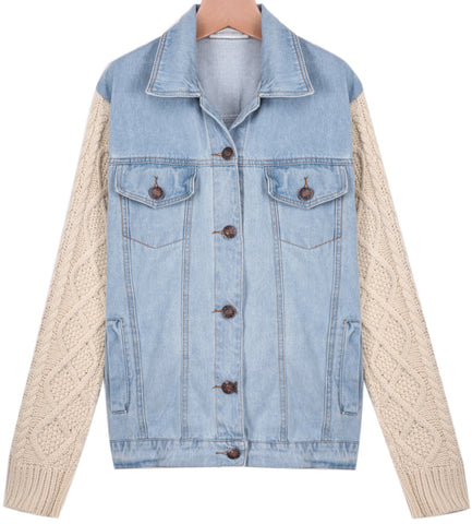Blue Contrast Knit Long Sleeve Denim Jacket