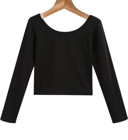Black Round Neck Long Sleeve Crop T-Shirt
