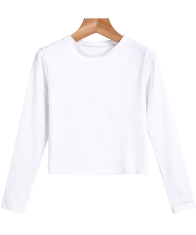 White Long Sleeve Slim Crop T-Shirt