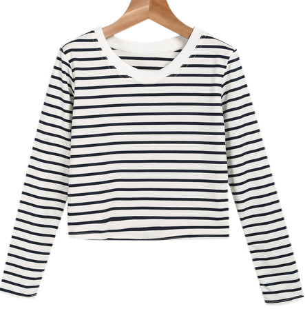 Black White Long Sleeve Striped Crop T-Shirt