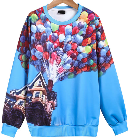 Blue Long Sleeve Balloon Print Sweatshirt