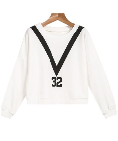 White Long Sleeve V 32 Print Crop Sweatshirt