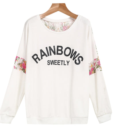 White Long Sleeve Lace Letters Print Sweatshirt
