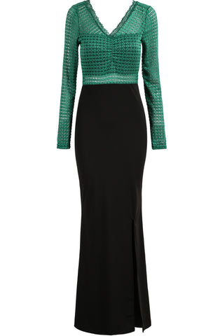 Green V Neck Long Sleeve Lace Split Dress