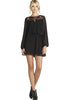 Black Long Sleeve Lace Split Backless Dress