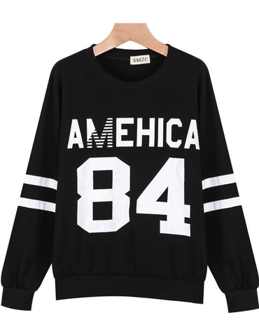 Black Long Sleeve AMEHICA 84 Print Sweatshirt