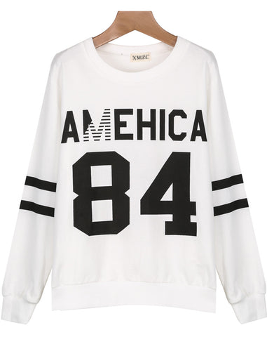 White Long Sleeve AMEHICA 84 Print Sweatshirt