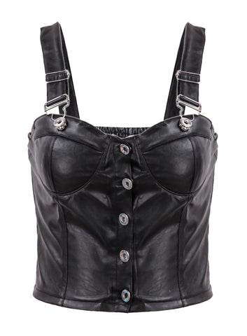 Black Spaghetti Strap Buttons PU Leather Vest