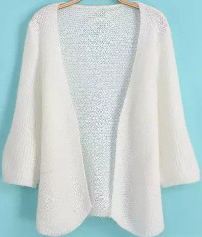 White Half Sleeve Knit Loose Cardigan