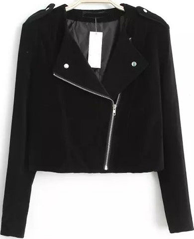 Black Long Sleeve Epaulet Crop Jacket