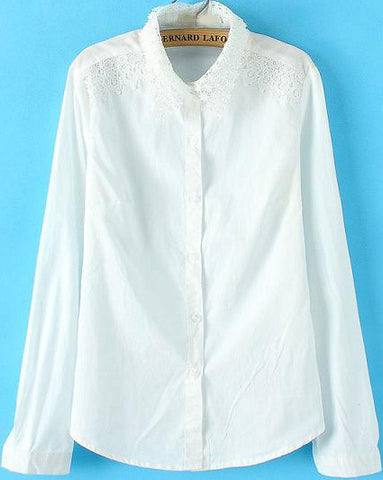 White Lace Lapel Long Sleeve Loose Blouse
