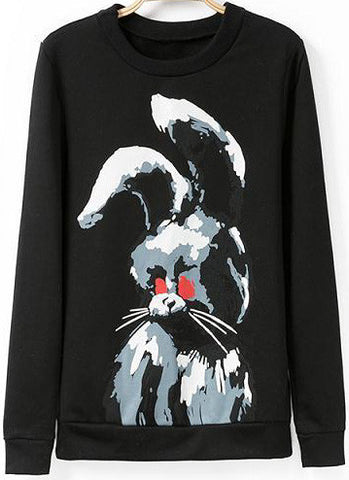 Black Long Sleeve Rabbit Print Loose Sweatshirt