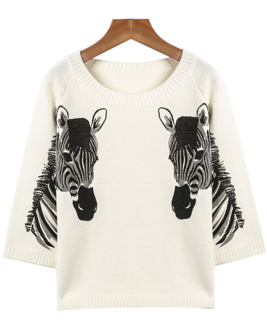 White Long Sleeve Horse Print Knit Sweater