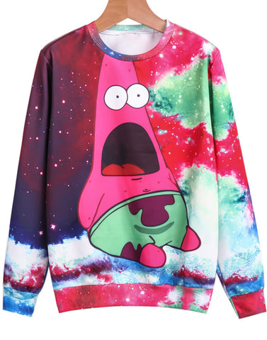 Red Long Sleeve Cartoon Galaxy Print Sweatshirt