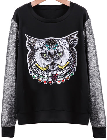 Black Long Sleeve Sequined Owl Bead Sweatshirt