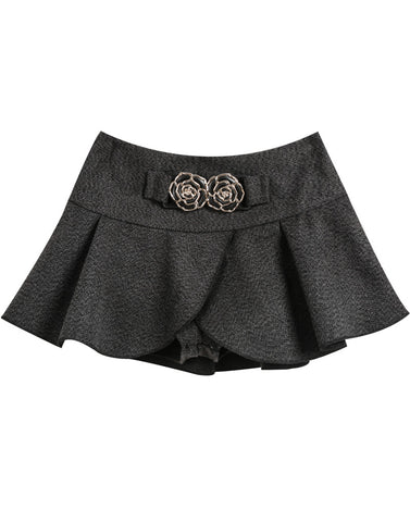 Grey Flower Embellished Skirt Shorts