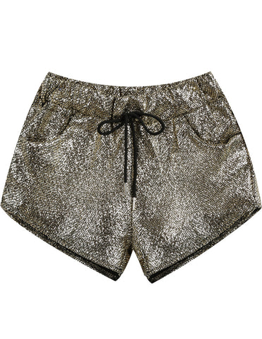 Gold Drawstring Waist Pockets Shorts