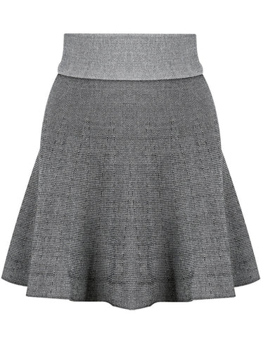 Grey High Waist Zipper Knit Skirt
