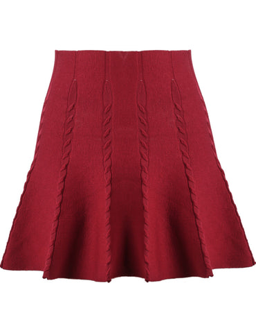Red High Waist Cable Knit Skirt