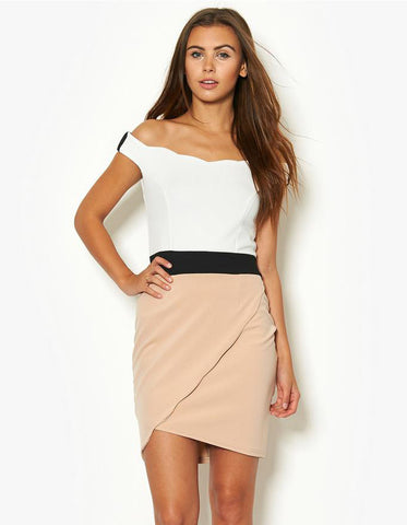 White Off The Shoulder Color Block Dress