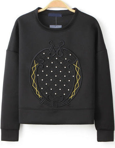 Black Long Sleeve Embroidered Bead Sweatshirt
