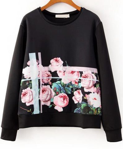 Black Round Neck Long Sleeve Floral Sweatshirt