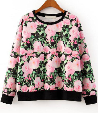 Black Long Sleeve Floral Leaves Print SweatshirtBlack Long Sleeve Floral Leaves Print Sweatshirt