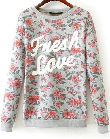 Grey Long Sleeve Floral Letters Print Sweatshirt
