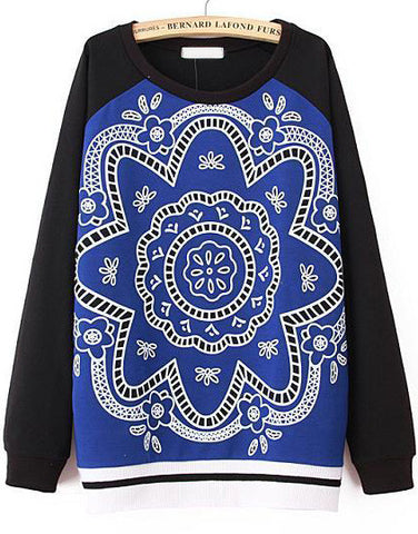 Black Blue Long Sleeve Vintage Floral Sweatshirt
