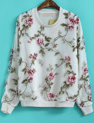 White Long Sleeve Floral Contrast Organza Sweatshirt