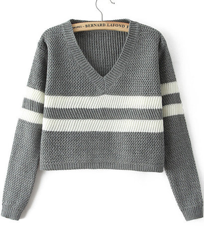 Grey V Neck Long Sleeve Striped Crop Sweater