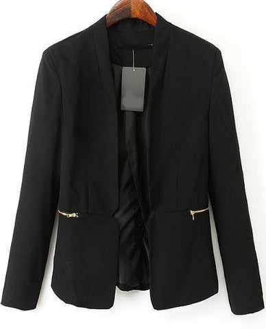 Black Long Sleeve Zipper Fitted Blazer
