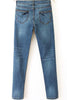 Blue Low Waist Pockets Bleached Denim Pant