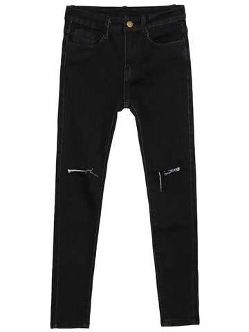 Black Slim Ripped Pockets Denim Pant