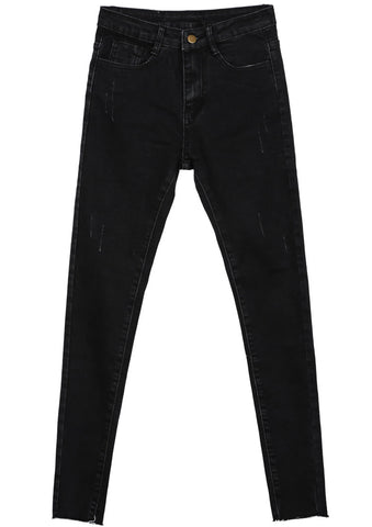 Black Classic Slim Ripped Denim Pant