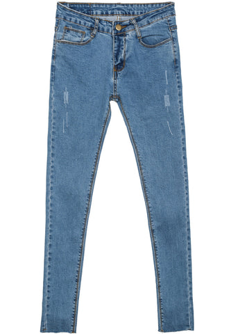 Light Blue Classic Slim Ripped Denim Pant