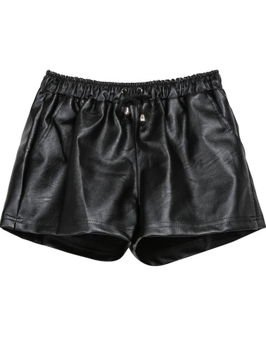Black Drawstring Waist PU Leather Shorts