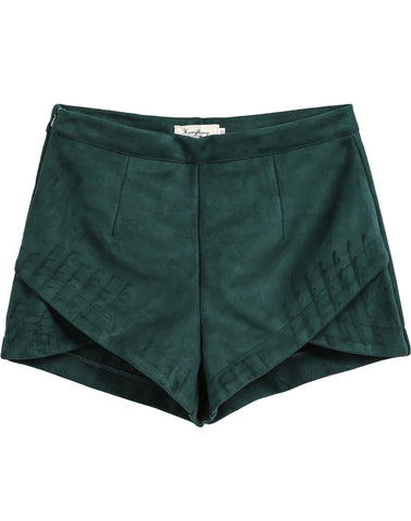 Green Slim Overlap Straight Shorts