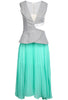 Grey Vertical Stripe Midriff Contrast Green Pleated Dress