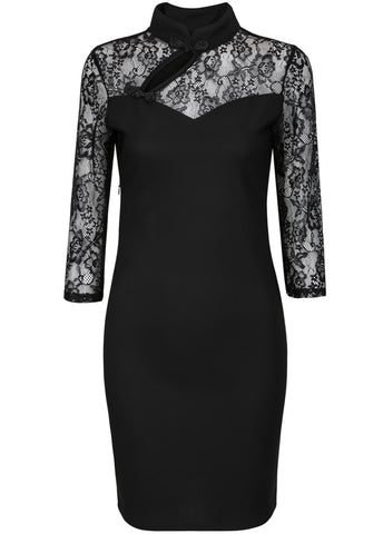 Black Contrast Lace Long Sleeve Hollow Dress