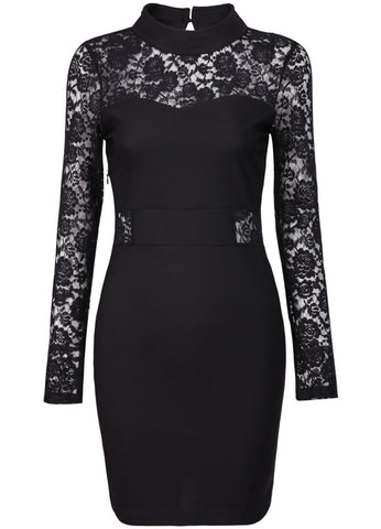 Black Lace Long Sleeve Hollow Bodycon Dress