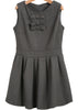 Grey Sleeveless Bow Embellished Woolen Dress