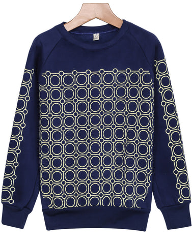 Blue Long Sleeve Circle Print Loose Sweatshirt